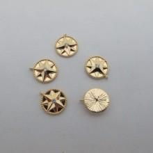 10 Pendentifs 14x12mm  Doré à l'or fin