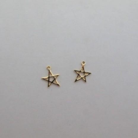 10 Pendentifs étoile 15x11mm Doré à l'or fin