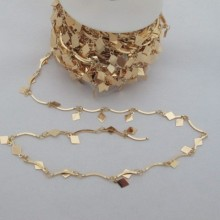 1m Chain fancy rhombus 9mm gold plated