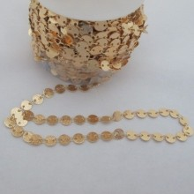 1m Sequin Chain Glitter 6mm Gold plated