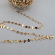 1m Fancy square chain 4 mm Gold plated