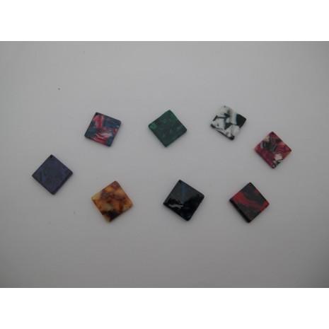 20 pcs Pendentif carré en acétate 15mm