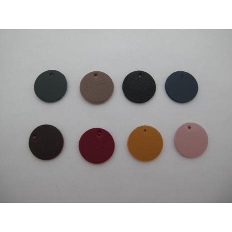 20 pendentif ronde  simili-cuir 20mm