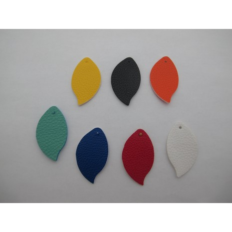 20 pendentif simili-cuir 40x23mm
