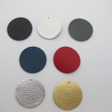 Round leather pendants 40mm¨- 10 pcs