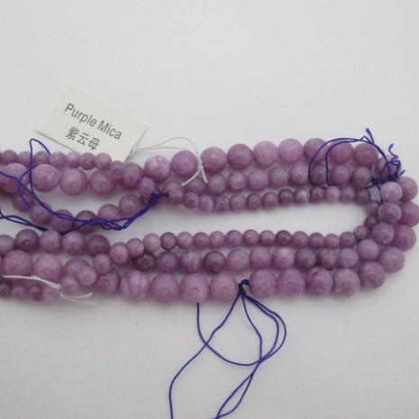 purple mica ronde- Fil de 40 Centimetres
