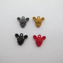 Colored Metal Mouse Pendant 16x15mm - 10 pcs