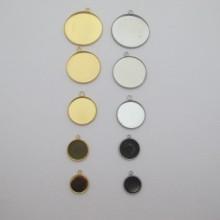 Support cabochon rond en acier inox 12mm/14mm/20mm/25mm/30mm