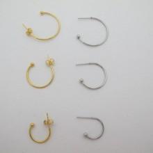 Boucle d'oreille créole semi-ouverte 15mm/20mm/25mm acier inoxydable