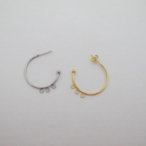 Boucle d'oreille créole semi-ouverte 3 anneau 25mm acier inoxydable