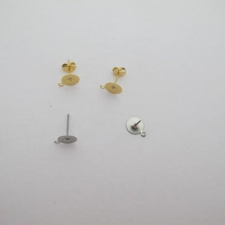 Clous d'oreilles à coller plateaux 8mm avec attaches acier inox