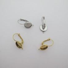 Boucle D'oreille Domeuses À Rebord Pour Cabochon 10mm avec attaches  acier inox