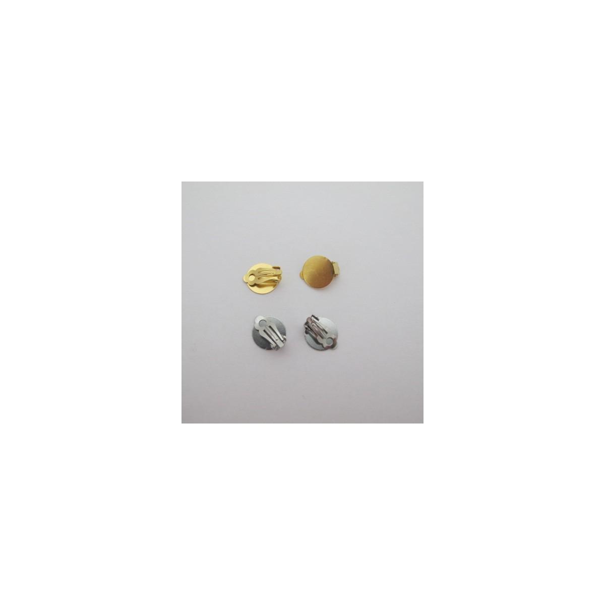 Feuille D Inox À Coller clip d'oreille à coller plateaux 14mm acier inox - perles bleues