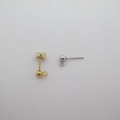 Clous d'oreilles ronde 4mm avec attches acier inox