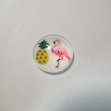 25 Flat Cabochon Flamingo pink 20mm