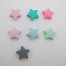 20 pcs perles etoille en silicone 23mm