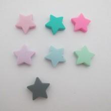 Perles etoille en silicone 23mm - 20 pcs