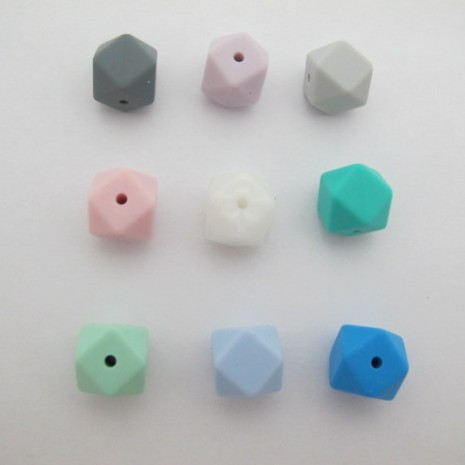 20 pcs perles hexagone en silicone 14mm