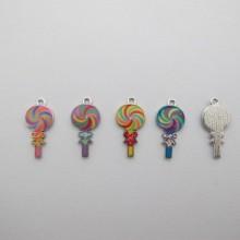 30 Metal lollipop charms 24x12mm