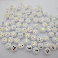 500 gm lot alphabet 26 perles lettres 10mm blanc et doré