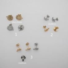 Clous d'oreilles acier inoxydable 6 pcs