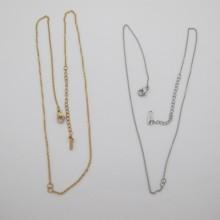 Collars + open rings stainless steel 48cm - 10 pcs