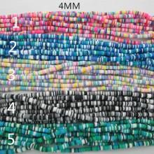 Rondelles en pâte polymère 4MM- Fil De 39 Centimetres