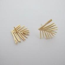 Clous d'oreilles feuilles Doré à l'or fin 21x19mm - 10 pcs