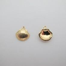 10 pcs Pendentif coquillage de palourde 13x12mm Doré à l'or fin