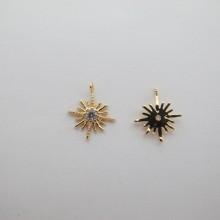 10 pcs pendentif strass 13x11mm Doré à l'or fin