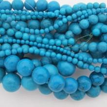 Pierres Semi-Precieuses.turquoise ronde- Fil de 40 Centimetres
