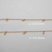 1 mts Chaîne acier inoxydable doré goutte 6x3mm