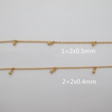 Golden stainless steel chain drop 6x3mm - 1m
