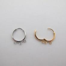 Dormeuse ronde avec 3 anneau Doré à l'or fin 17mm - 10 pcs