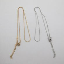 Stainless steel snake chain collars 0.90mm 40cm - extension 5cm - 12 pcs