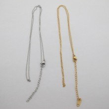 10 colliers maille forçat  0.90mm  45cm +rallonge 5cm en acier inox