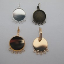 Dome Earrings With Rims For Cabochon 20mm - 20 pcs