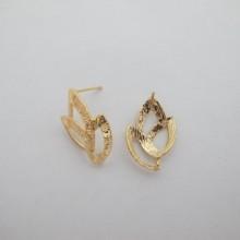 Clous d'oreilles Doré à l'or fin 22x15mm - 10 pcs