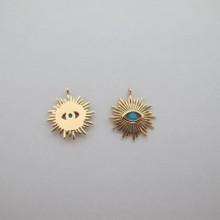 10 pcs pendentif strass 15x17mm Doré à l'or fin