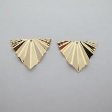 10 pcs pendentif triangle 29x22mm Doré à l'or fin