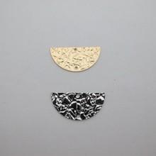 10 pcs Semi-moon sequinned interleaved fine gold 25x13mm