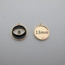 3 pcs pendentif Doré à l'or fin 18x16mm