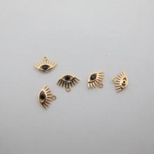 5 pcs pendentif Doré à l'or fin 11x8mm