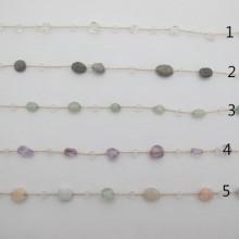 Stainless steel semi-precious stone chain 1 m