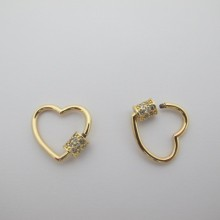 Screw clasps with gold plated rhinestones 20x19mm - 5 pcs