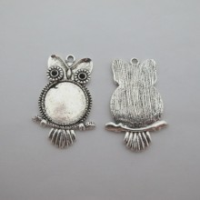 Metal owl pendant holders for 20mm round cabochons - 10 pcs