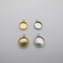 35 pcs Round stainless steel cabochon holder 8mm/10mm