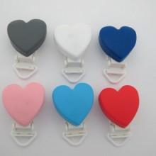 6 pcs clip silicone coeur pour attache tetine 58x38mm