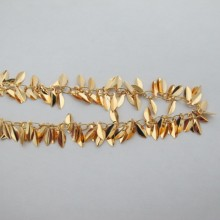 1 mts Cluster chain leaf 10mm Gold plated