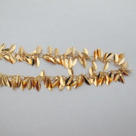 1 mts Chaîne grappe feuille 10mm Doré à l'or fin